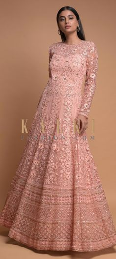 Baby pink indowestern gown in net. Enhanced with thread and sequins embroidered floral jaal. Hemline adorned with embroidered Moroccan pattern. Indowestern Gowns, Kurti Designs Party Wear, Moroccan Pattern, Wedding Function, Pink Gowns, Indian Dresses, Hemline, Bridal Gowns, Outfit Ideas
