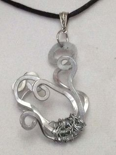 #Medusa Inspired #Silver #Necklace on Black Satin Cord by Eldwenne, $25.00 #etsy #handmade #Jewelry