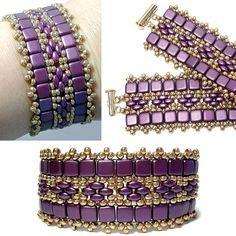 Berry Band, free pattern from Deb Roberti  - Around the beading table.  Nice, easy use of 2-hole beads  ~ Seed Bead Tutorials