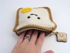 super cute kawaii egg on toast crochet amigurumi mini purse , on sntas wish list Kawaii Crochet, Crochet Food, Crochet Gifts, Cute Crochet, Crochet Dolls, Purse Patterns, Crochet Patterns, Crochet Ideas, Sewing Patterns
