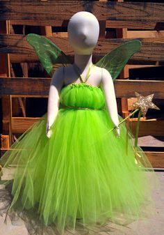 Tinkerbell inspired tutu dress costume by barbiesbowtique on Etsy, $40.00