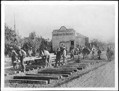 Work crews building the Los Angeles and San Gabriel Valley Railroad, South Pasadena, ca.1885 :: California Historical Society Collection, 1860-1960