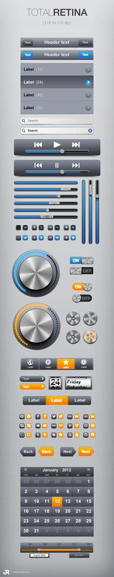 Total Retina - Free UI Kit (Blue & Orange PSD)