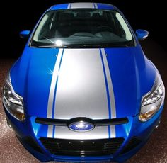"""Blue focus w/ Silver 20"""" Ford Focus Rally Stripe graphics set"""
