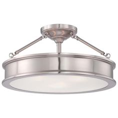 9.75x15 Home Decorators Collection Grafton 3-Light Brushed Nickel Semi Flush Mount Ceiling Light-23955 - The Home Depot Uses three 60-Watt medium base bulbs $97
