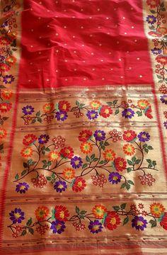 Shop online for Red Handloom Paithani Pure Silk Saree Banarsi Saree, Handloom Saree, Indian Silk Sarees, Pure Silk Sarees, Fancy Blouse Designs, Saree Blouse Designs, Maharashtrian Saree, Designer Silk Sarees, Weaving Textiles