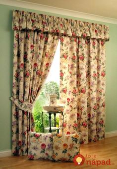 Interior Fancy Decoration With Lovely Pink Rose Accent On Beige Loose Curtain With Same Accent On Decorative Pillows On Laminate Floor Modern Patterned Curtains to Spice up Any Decor Bay Window Curtains, Pleated Curtains, Floral Curtains, Patterned Curtains, Room Window, Extra Wide Curtains, Unique Curtains, Decorative Curtains, Curtain Patterns