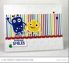 Monster Love Stamp Set and Die-namics, Vertical Stitched Strips Die-namics, Peek-a-Boo Polka Dots Die-namics, Blueprints 2 Die-namics - Jodi Collins #mftstamps