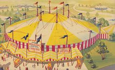 A brightly hued, invitingly fun illustration for the 1964-1965 Continental Circus at the New York World's Fair.
