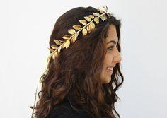 Gold Leaf Crown, Gold Leaf Hair Wreath, Goddess, Greek, German Wedding Crown, Leaf Tiara, Halo, Leaf Hair Wreath, Greek Head Piece, Toga