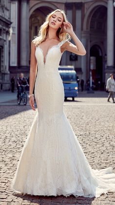 eddy k milano bridal 2017 sleeveless lace straps deep v lace mermaid wedding dress (md202) mv train