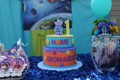 Boov Cake, Oh!, pig cat, Home the movie, DreamWorks, Purple and blue, First Birthday Cake