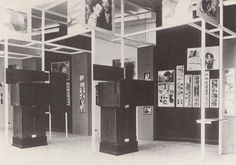 """Room 4 of """"Film und Foto"""" exhibition. El Lissitzky's selection of soviet films and photographs. The exhibition also included machines designed by the director Sergei Eisenstein, on which the films could be watched."""