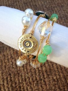 Gold Wire Wrapped Bangle with 12 Gauge Shotgun Shell by AquaAnchorDesigns, $25.00