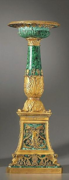 One of a pair of Empire gilt bronze and malachite tazze made by Pierre-Philippe Thomire and signed Thomire à Paris date circa 1811