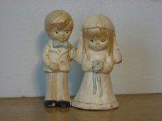 Wedding topper. shabby chippy pearlized bride and groom. Marriage repaired…