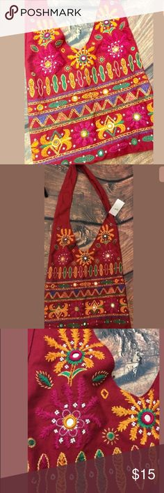 """Embroidered Boho Shoulder Bag New Embroidered Red Boho Floral Shoulder Bag Hippie Tribal Ethnic Style Purse; Measures approx 12"""" tall, 14"""" long with a 20"""" strap drop; 100% cotton with colorful Embroidery and reflective accents to the front Unbranded Bags Shoulder Bags"""