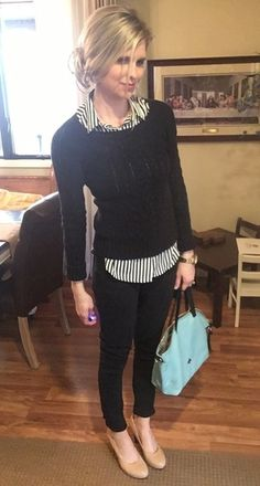 Striped button up and crew neck. #ShopStyle #shopthelook #MyShopStyle #WearToWork #OOTD