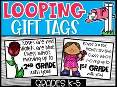Looping Grades Gift Tag FREEBIE by Carolyn's Creative Classroom LLC School Building, End Of Year, Classroom Management, Cute Gifts, Gift Tags, Homeschool, Teacher, Student, Activities