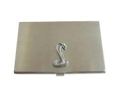 Silver Toned Textured Cobra Snake Business Card Holder
