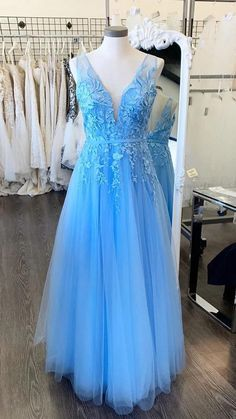 Blue Evening Dresses, A Line Prom Dresses, Tulle Prom Dress, Long Dresses, Dress Long, Dance Dresses, Homecoming Dresses, Blue Dresses, Wedding Dresses