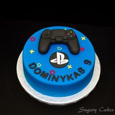 Personalised sugarpaste playstation 4 controller joystick Xbox cake toppers cake decorating birthday cakes - Playstation - Ideas of Playstation - - Personalizadas fondant playstation 4 controlador joystick Bolo Xbox, Mini Cakes, Cupcake Cakes, Playstation Cake, Xbox Cake, Video Game Cakes, Video Game Party, Sugar Cake, Cakes For Boys