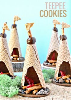 Cookies No need to pack your sleeping bag, you can still feel like you are camping with these allergen-friendly TeePee Cookies.No need to pack your sleeping bag, you can still feel like you are camping with these allergen-friendly TeePee Cookies. Food Art For Kids, Cooking With Kids, Crafts For Kids, Cooking Tips, Cooking Kale, Cooking Videos, Edible Crafts, Edible Art, Food Humor