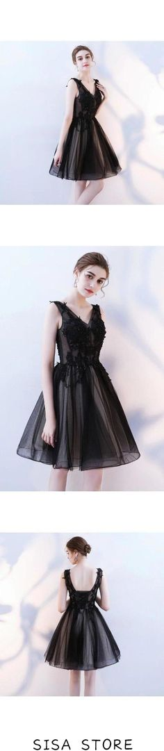 A Line V Neck Black Homecoming Dresses Short Tulle, This dress could be custom made, there are no extra cost to do custom size and color Cute Homecoming Dresses, Prom Party Dresses, Semi Formal Dresses, Short Dresses, Black Lace Shorts, Affordable Prom Dresses, Black Party Dresses, Short Prom, Special Occasion Dresses