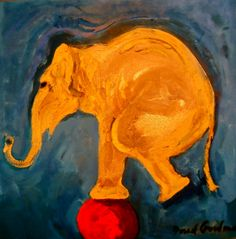 Elephant on a Red Ball, Oil on canvas