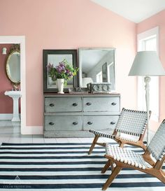 Color Trends 2018 - Benjamin Moore's Pleasant Pink Via Pink Bedroom Walls, Bedroom Green, Pink Walls, Bedroom Decor, Bedroom Ideas, Master Bedroom, Cafe Interior, Interior Design, Interior Ideas