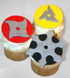 Fondant cupcake toppers Ninja Star, Karate, Martial Arts by HarrietsHouseofCakes on Etsy https://www.etsy.com/listing/119501671/fondant-cupcake-toppers-ninja-star
