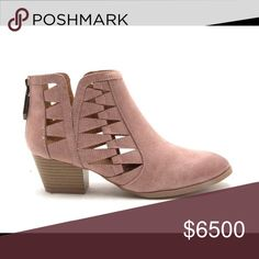 Blush Cutout Ankle Bootie Beautiful heeled bootie! New in box! Price is firm! ▪️Manmade leatherette upper ▪️Hand-processed oil finish gives it a distressed look ▪️Side cutout details ▪️Almond-toe front ▪️Synthetic outsole ▪️2 in. chunky, stacked wooden heel ▪️Cushioned insole ▪️Zipper closure on back ▪️4 in. shaft ▪️10 in. opening ▪️Imported Qupid Shoes Ankle Boots & Booties