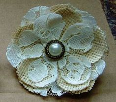 White Lace Burlap Flower Hair Barrette w/pearl accents - Rustic Country chic, for child/flower girl (set)  These beautiful burlap flower hair