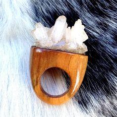 River Wood & Hemimorphite Crystal Ring by GlassTower on Etsy, $65.00