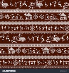 Warli painting seamless pattern - hand drawn traditional the ancient tribal art India. Pictorial language is matched by a rudimentary technique depicting rural life of the inhabitants of India Arte Tribal, Tribal Art, Worli Painting, Fabric Painting, Pottery Painting Designs, Paint Designs, Traditional Paintings, Traditional Art, Indian Wall Art