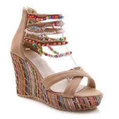 Bohemian Wedge and Beading Design Women's Sandals