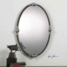 Uttermost Carrick Black Oval Mirror