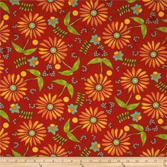 Moda Bobbins & Bits Flowers & Berries Cherry Red