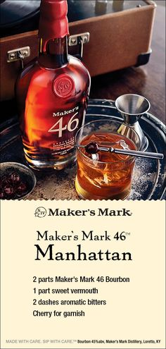 Maker's Mark 46 Manhattan - Easy Cocktails Bourbon Cocktails, Cocktail Drinks, Cocktail Recipes, Manhattan Recipe, Manhattan Cocktail, Christmas Cocktails, Holiday Drinks, Liquor Drinks, Alcoholic Drinks