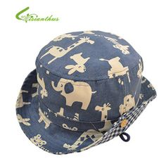 4e1886bc73f Children Boys Sun Hats Spring Summer Caps Cotton Bucket Hat Baby Kids Boy  Zoo Animals Cap New Fashion Free Drop Shipping