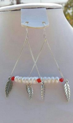 Pearls cristals silver red white