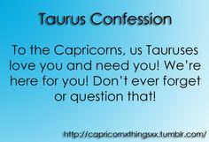 taurus confession about capricorn