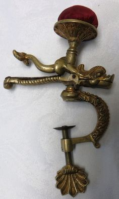 Rare Antique Figural Cast Brass Dolphin Sewing Clamp With Original Pin Cushion
