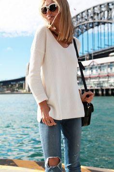 white sweater and denim