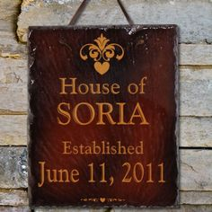 Personalized Our House Slate Plaque