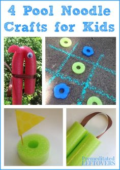 4 Fun Pool Noodle Crafts for Kids - Easy and frugal crafts for kids using pool noodles including a pool noodle pony, pool noodle sail boat, and more!