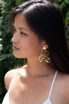 Ida Elsje 24 K Gold Plated Earrings - Abstract Floral Studs - Zeal Living