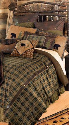 Rustic lodge bedding, western and cabin bedding collections. Find a huge selection of luxury rustic bedding and rustic bedroom furniture sets. Log Cabin Furniture, Bedroom Furniture, Western Furniture, Furniture Ideas, Furniture Design, Colchas Country, Home Bedroom, Bedroom Decor, Gray Bedroom