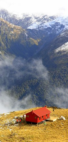 Brewster Hut in the Haast Pass on the South Island of New Zealand