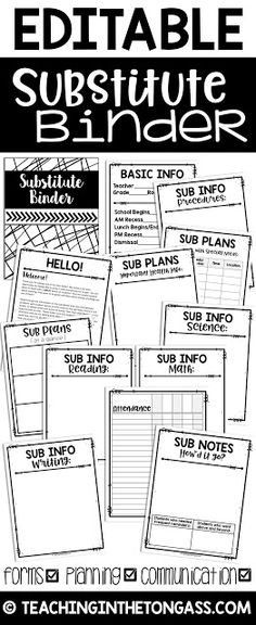 free editable sub binder for teachers teacher binders pinterest curriculum binder and. Black Bedroom Furniture Sets. Home Design Ideas